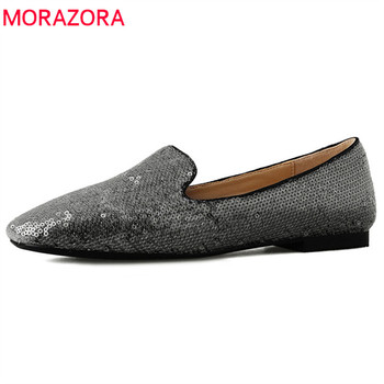 MORAZORA 2019 top quality sequined cloth spring summer single shoes woman square toe shallow casual shoes woman flat shoes pink