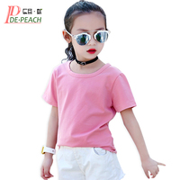 Girls Casual Brand Solid tees Summer Teens Girl White T shirt Girl Designer Short sleeves Simple Hip hop Candy T-shirts