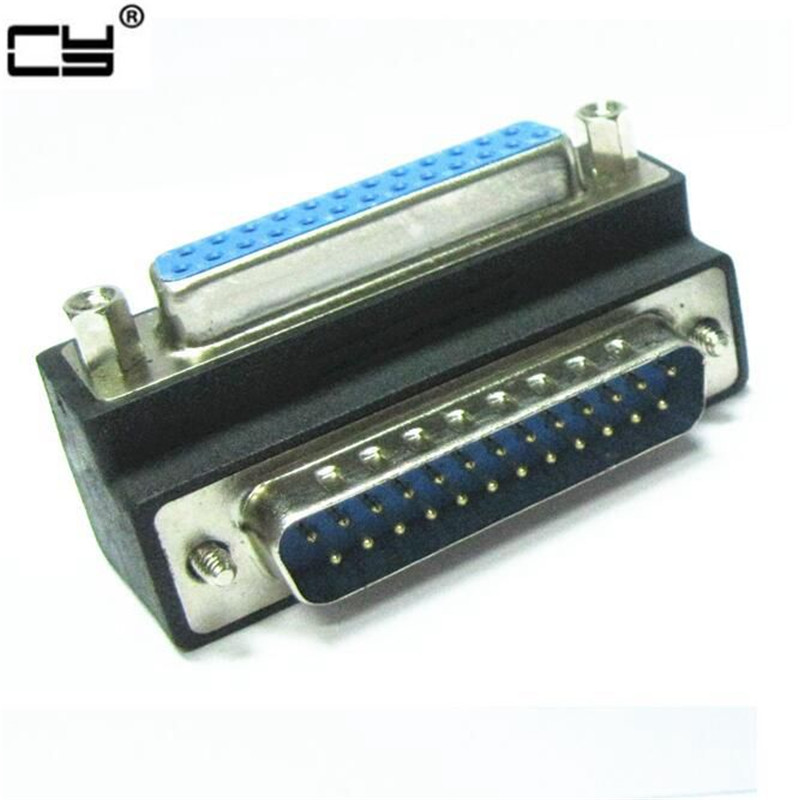 10pcs cy <font><b>90</b></font> Degree Right Angled DB25 <font><b>25</b></font> Pin Male to Female Extension Parallel cable Adapter for IEEE 1284 Printer image
