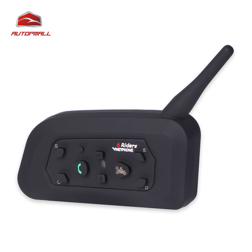 ФОТО Motorcycle Bluetooth Helmet Intercom V6-1200 1PCS Headset For 6 Riders Wireless Waterproof Intercomunicator Interphone Headsets
