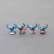3cm 4pcs/lot Stitch Mini Toys Figure Anime Stitch Action Figure Christmas Gifts And Dolls Home Party Supply Decoration Microtoys 4pcs lot 3 4cm new cool lilo and stitch toys cartoon movie stitch model mini pvc action figures toy for children creative gifts