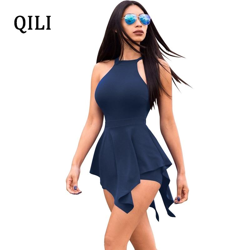 003a571e23b QILI Beach Rompers White Black Blue Fake Two Piece Romper Summer Women  Sleeveless Asymmetrical Zipper Hollow