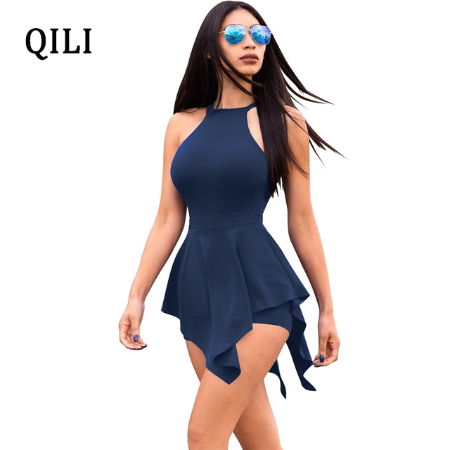 1ba5cdf8bd9 QILI Beach Rompers White Black Blue Fake Two Piece Romper Summer Women  Sleeveless Asymmetrical Zipper Hollow Out Casual Overalls