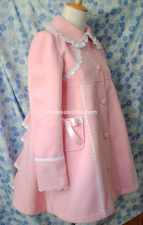 Filles Japon Laine amp; Arc cravate D'hiver Long Custom Manteaux Marque Cher Manteau Chaud Hiver Bulle Pas Made Rose rAqYB6POr7
