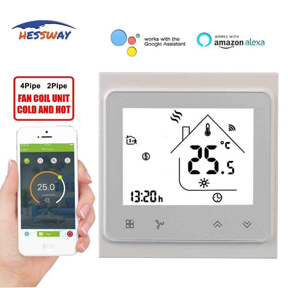 Hardwerkend Hessway Tuya Wifi Thermostaat Temperatuur Schakelaar Voor Fan Coil Door Werkt Met Alexa Google Thuis