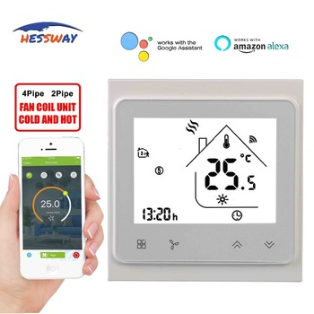 HESSWAY TUYA WIFI THERMOSTAT temperature control switch for fan coil by  Works with Alexa Google home цена 2017
