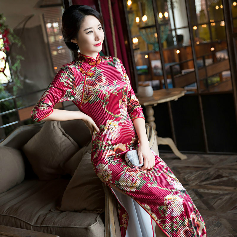The Fashion Super Quality Long Velvet Sleeves Chinese Style Thin Classical Red with Printing Stripe Silk Dress