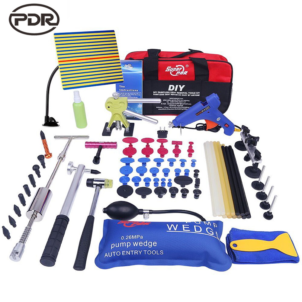 PDR Paintless dent removal kit car dents repair tools set dent lifter slide hammer glue puller Reflector board DIY hand tools pdr tools to remove dents car dent repair paintelss dent removal puller kit lifter removal glue tabs fungi sucker hand tool set