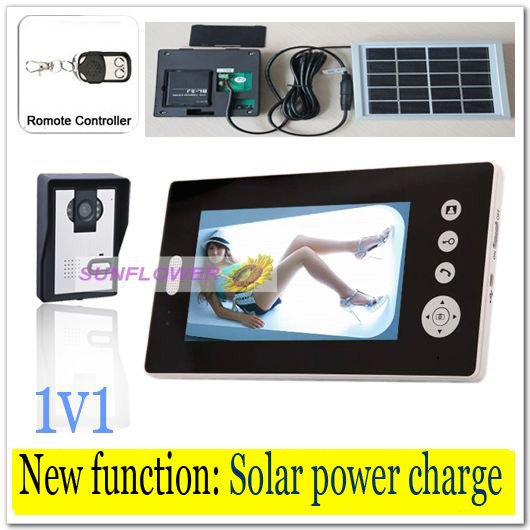 Newest Solar power charger Wireless 7inch photo-memory video intercom door phone system with remote control free shipping 300m wireless 7 inch video door phone wireless intercom system access control