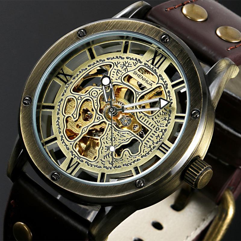 Prix pour Vintage Bronze Hommes de Squelette Montres Horloge Mâle Bracelet En Cuir Antique Steampunk Casual Automatique Squelette Mécanique Montre-Bracelet