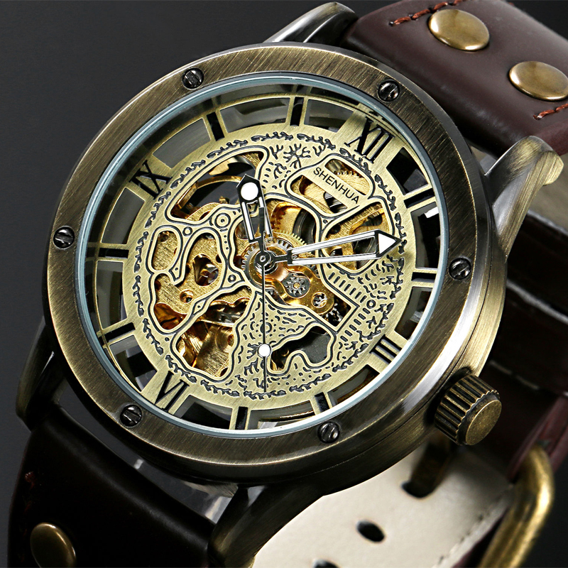 Vintage Bronze Men's Skeleton Watches Clock Male Leather Strap Antique Steampunk Casual Automatic Skeleton Mechanical Wristwatch real fox fur warm hooded padded jacket women solid color casual manteau femme hiver medium long parka slim coat cotton tt3461
