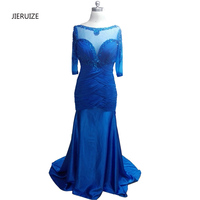 Abendkleider Blue Satin Beaded Mermaid Long Evening Dresses 2016 Long Sleeves Mother Of The Bride Dresses