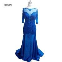 Abendkleider Blue Satin Beaded Mermaid Long Evening Dresses 2016 Long Sleeves Mother Of The Bride Dresses