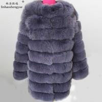 Linhaoshengyue 90 см больше раздел натуральной лисы пальто с мехом, пальто с мехом натуральный, пальто с мехом,