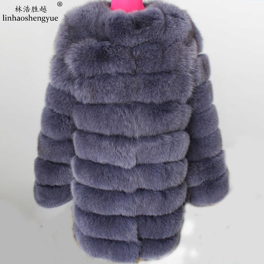 Linhaoshengyue 90CM sección más larga de abrigo de piel auténtica de zorro natural, abrigo de piel natural, abrigo de piel real,