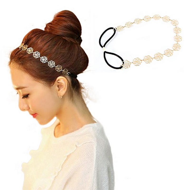 Gold Alloy Hollow Rose Elastic Hair Hoop Flower Design Hair Ornaments Headwear Accessories for Women