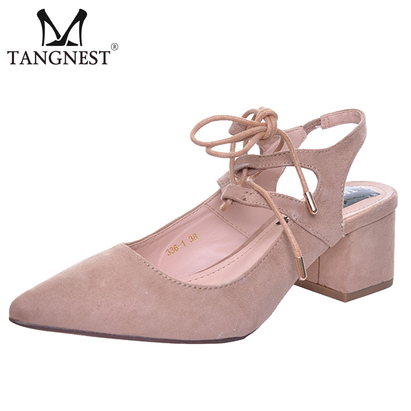 Tangnest Women s High Heels Shoes For Summer Genuine Leather Sandals Thick heel Pumps Shoes Woman