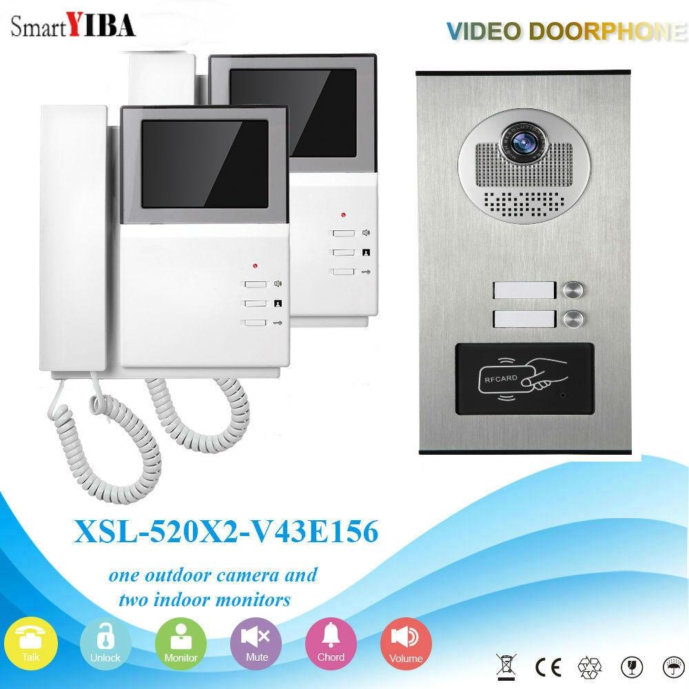 SmartYIBA 2 Units 4.3'' Handfree Apartment Building Video Intercom Door Phones Door Bell Kits With RFID Access Door Camera