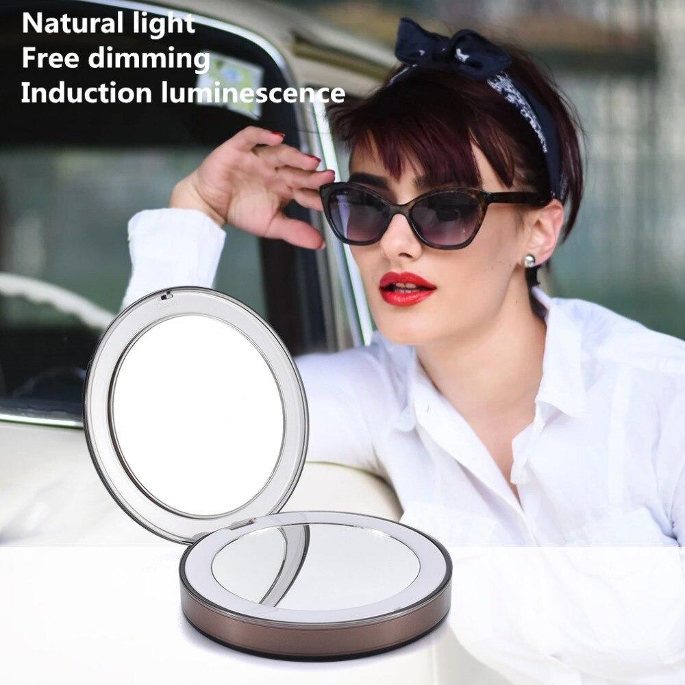 Travel Mirror LED  Makeup Mirror Folding Pocket Mirror 1x3x Magnification Adjustable Portable Travel Mirror Inductive Rechargeable Portable mirror (07)