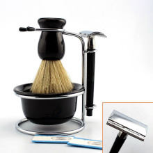 4in1 Shave Stand Bristle Shaving Brush Soap Bowl Mug Cup Safety Razor Free Double Edge Blades