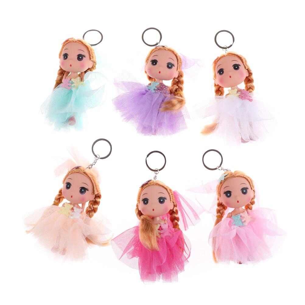 12CM Doll Key Ring Key Holder Mobile Phone Straps Toys Soft Interactive Baby Dolls Toy Key Chains Keychain for Girls