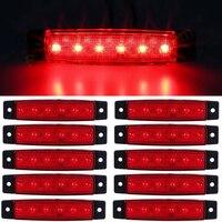 Vente chaude 10 pcs 24 V 6LED Camion Remorque Camion Bus Side Marker Indicateurs Lumière Rouge Signal Lampe De Voiture Décoration