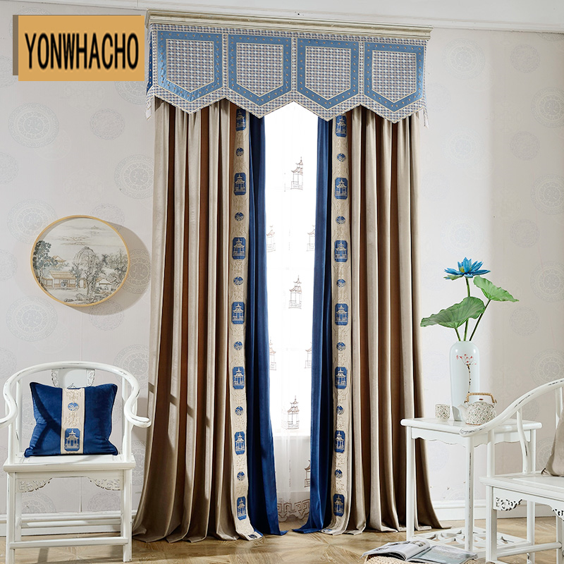 Custom curtains luxury simple modern pure flannel  European living room thick grey cloth blackout curtain tulle valance N609 window valance