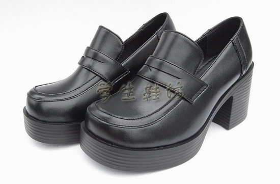 Japanese School Students Uniform Shoes Uwabaki JK Round Toe Gothic Women Girls Lolita Cosplay Med Heels M01
