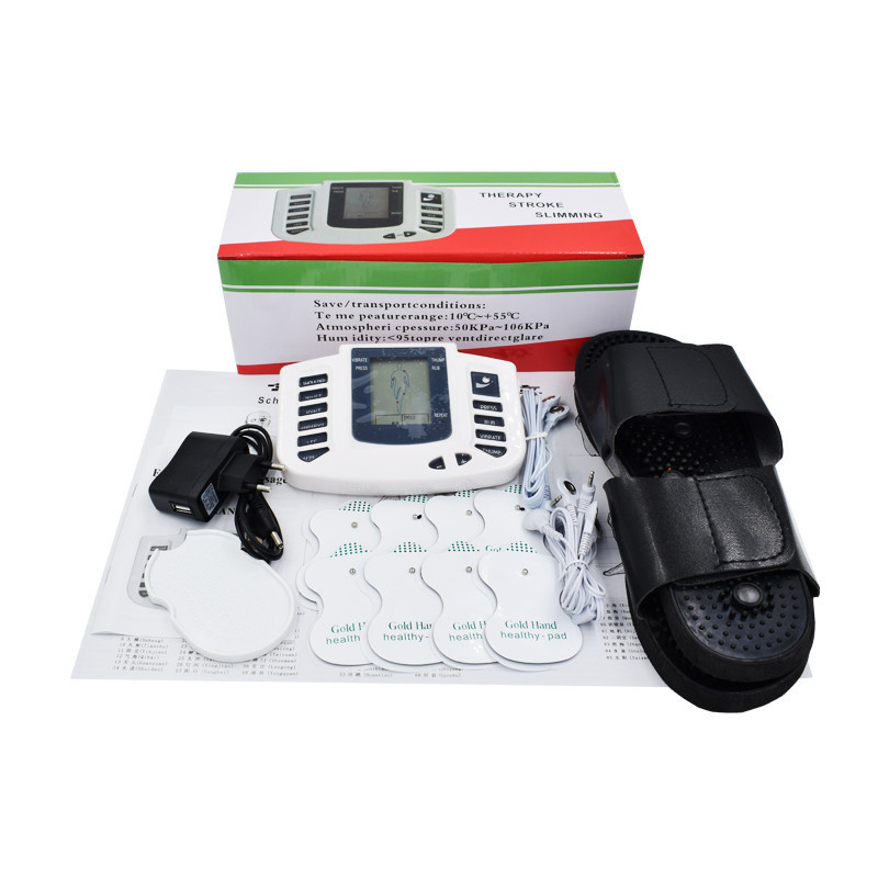 Electrical Muscle Stimulator Massageador Tens Acupuncture Therapy Machine Slimming Body Massager 4pcs pads & Slippers 2 pcs electrical digital slimming acupuncture massager relieve muscle pain therapy machine with 4pcs electrode pads for tens