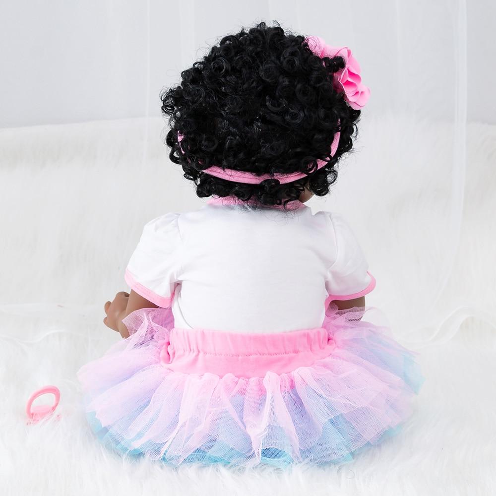 22 นิ้ว Reborn ตุ๊กตาเด็กสาวไวนิลตุ๊กตาเด็กวัยหัดเดิน Appease ของเล่นเด็กเล่นของเล่นเด็กวันเกิดของขวัญนุ่มซิลิโคน-ใน ตุ๊กตา จาก ของเล่นและงานอดิเรก บน   3