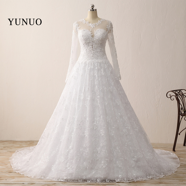 Romantic Wedding Dress Ball Gown Lace Long Sleeve Charming 2018 Long ...