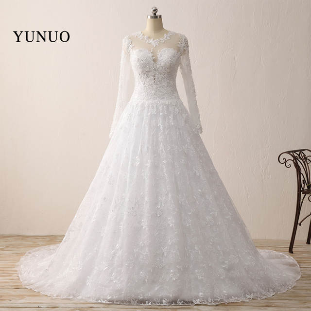 Romantic Wedding Dress Ball Gown Lace Long Sleeve Charming 2019 Long Simple Wedding Dress X121612