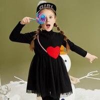 2017 Filles Heureux Robe de Valentine Jour Coeur Forme Vêtements Noir Long manches Enfants Navidad à L'âge 5678910 11 12 13 14 Ans vieux