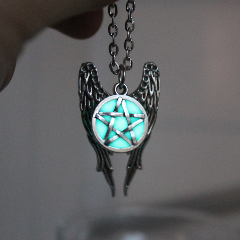 Antique Pentagram Pentacle Angel Wings Pendant Supernatural Necklace Women Jewelry Luminous Necklace GLOW in the DARK gift