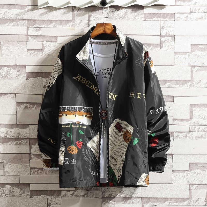 ストリート印刷カジュアル男性ジャケット春秋のウインドブレーカーメンズ爆撃機ジャケットヒップホップ男性のオーバーコート