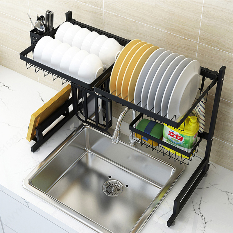 Silver/Black Kitchen Sink Rack Stainless Steel Sink Drain Rack Drying Storage Holder 2 Layer Kitchen Dish Shelf Organizer
