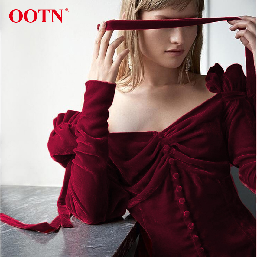 9960454c81526 OOTN One Shoulder Top Female Long Sleeve Velvet Shirt Lace Up Ruffle Red  Women Autumn Blouse Single-Breasted Sexy Winter Blouses