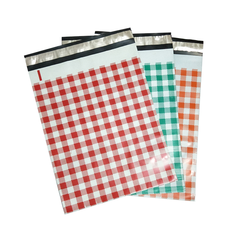 3 Colors 10pcs 25.5*33cm 10*13 Inch Orange/Red/Teal Plaid Pattern Poly Mailers Self Seal Plastic Mailing Envelope Bag