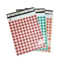 3 colors 10pcs 25.5*33cm 10*13 inch Orange/Red/Teal Plaid Pattern Poly Mailers Self Seal Plastic Mailing Envelope Bag