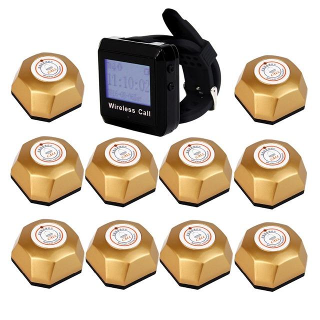 1 pcs Pulso Receptor Pager + 10 pcs Ouro Preto Ligar o Botão do Transmissor para o Restaurante Sem Fio Sistema de Paginação 433 MHz F3258