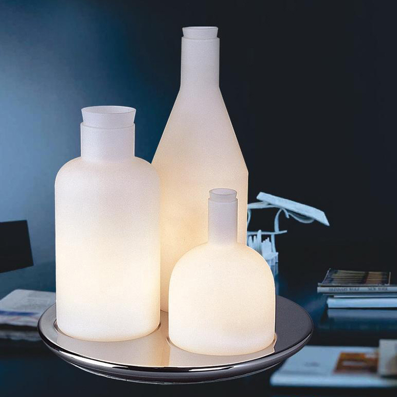 Nordic Modern Wine Bottle Table Lamps White Glass Bottle Table