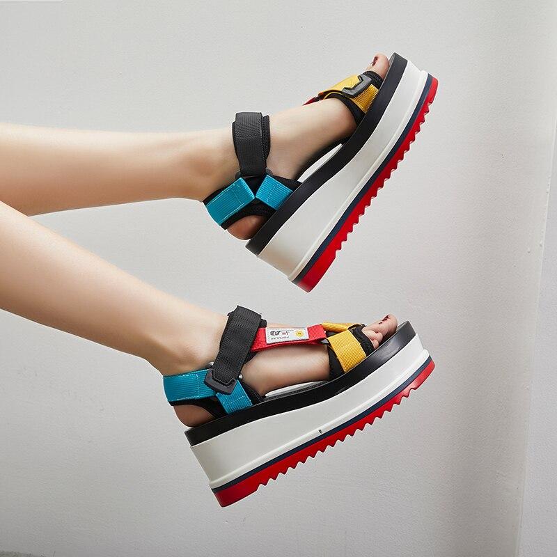 Wedge Heel Casual-Shoes Sandals Women Fashion Summer Woman Patchwork Wild-Footwear Cozy