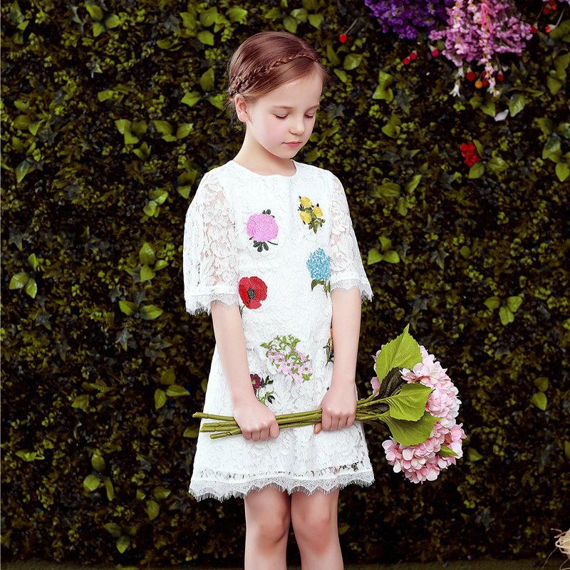 Girls Party Dresses Costume for Kids Lace Dress Brand Vestidos Clothes Children Princess Wedding Dress with Flower Embroidery girls dresses for 2 4 6 8 10 yrs 2017 summer children dress princess costume embroidery flower kids clothes girls party dress