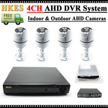 HKES 4CH CCTV System Wired 720P AHD DVR 4PCS 1.0MP IR Out of doors CCTV Safety Digicam System Surveillance Package