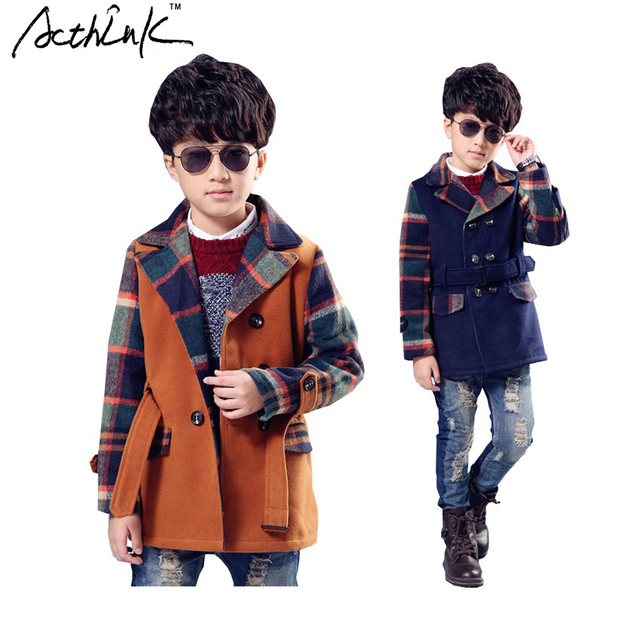 ActhInK 2016 New Boys Winter Woolen Double-Breasted Plaid Wool Coat Brand Boys Jacket Trench Kids Cotton Windproof Jacket ,YC050