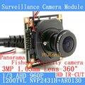 Mini HD de 360 Graus Fisheye Panorâmica Analógico Módulo de Câmera de Alta Definição de Vigilância de Segurança interior visão nocturna do IR