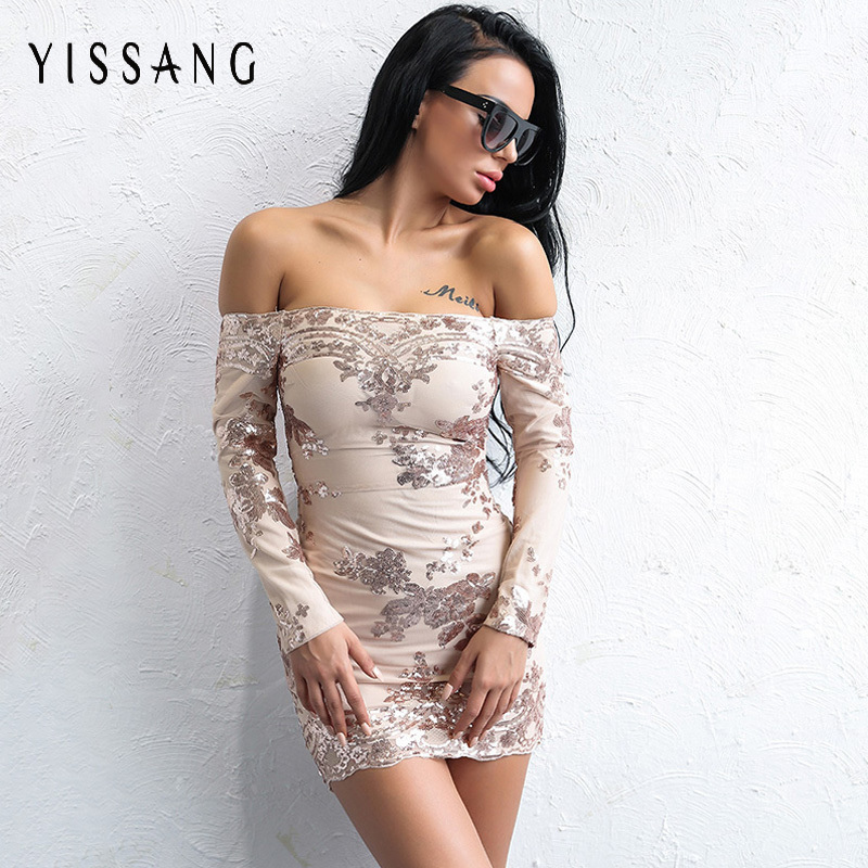 Yissang Sexy Women Autumn Gold Sequins Dress 2017 Ladies Long Sleeve Off  Shoulder Club Party Dresses Woman Bodycon Vestidos-in Dresses from Women s  Clothing ... 5a16065cfab9