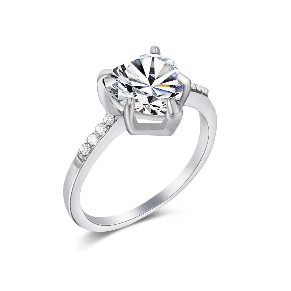 1PC אופנה AAA זירקון קריסטל לב בצורת טבעת נשים של זירקון אירוסין טבעות גלמור תכשיטי חתונה לנשים