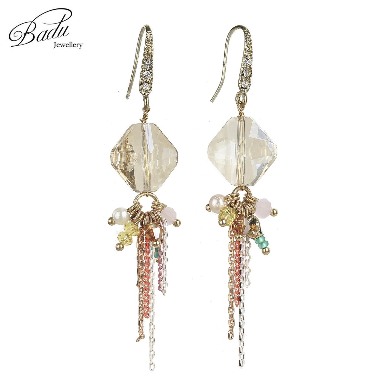 92b07b2b93be Badu largo pendiente de gota de cristal uso diario Simple moda elegante mujeres  pendientes regalo para las niñas al por mayor liquidación baratos