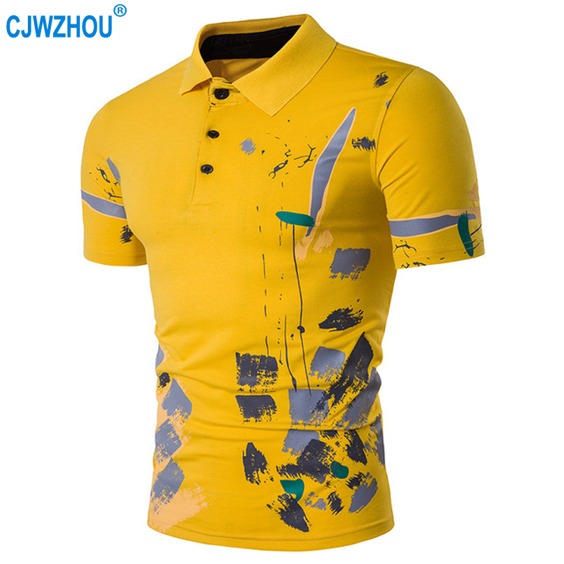 2019 Summer Men   Polo   Shirts Solid Cotton Hand-painted Short Sleeve Casual Slim Gray White Yellow Mens   Polo   Shirts Size S-2XL CJW